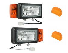 2x Scheinwerfer mit Blinker für Traktor Bagger Radlader mit 2 Lampenschirm Set