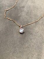 1.0 Carat Diamond Brilliant Cut Solitaire Pendant With Necklace Rose Gold Finish