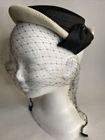 VINTAGE 1960s Dayne Original Black White Pillbox Hat Rhinestones Net Veil