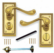 Georgian Polished Brass Lever Privacy Locking Door Handles WC Toilet 1 x Pair