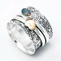 925 Sterling Silver Spinner Ring, Opal Ring Meditation Ring, Opal Spinner Ring