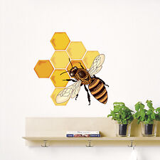 Wall Decals Full Color Bee Honey Decal Art Colorful Kids Room Sticker Decor DD17