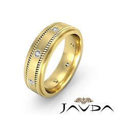 Yellow Gold Step Edge Ring 0.15Ct Shining Diamond Mens Eternity Wedding Band 18k