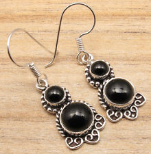 Beautiful BLACK ONYX Stone Earrings ! Silver Plated Over Solid Copper