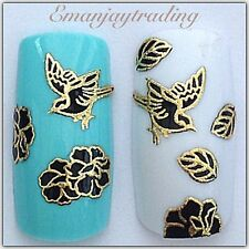 Nail Art 3D Decals/Stickers Black & Gold Birds Flowers & Leaves #143