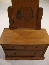 """Vintage Halls Lifetime Toys Brown Wood 2 Drawer Mirror Dresser Doll House L 4"""""""