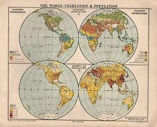 1934 MAP ~ THE WORLD ~ VEGETATION & POPULATION IN HEMISPHERE ~ DENSITY