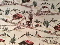 """VTG CHRISTMAS 1950 WRAPPING PAPER LARGE 20"""" x 36"""" SLED CABIN SNOW MAILBOX NOS"""