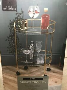 Home Collections Gold Effect 2 Tier Drinks Trolley Cocktails Bar Gin Wheeled