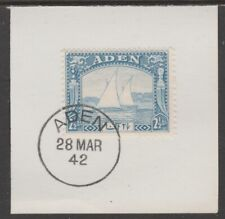 909517  ADEN 1937 DHOW 2.5a  on piece with  MADAME JOSEPH FORGED POSTMARK