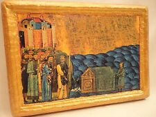 The Finding of Relics of Pope Clement Greek Orthodox Icon Art Aged Poplar Wood
