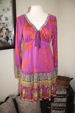 Hale Bob Purple Orange Green Long Sleeve Stretch Dress S Small