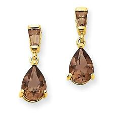 Ladies 14k Yellow Gold Polished Smokey Topaz Post Dangle Earrings 15mm x 5mm