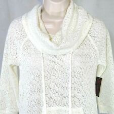 No Boundaries Open Knit Top Shirt Cowl Neck Juniors Size S 3 - 5 Cream Ivory NEW
