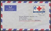 Mauritius 1963 World Commerce Agencies airmail cover to England, Red Cross stamp