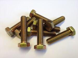 QTY 4 M16 x 1.5p x 50mm HEX SET BOLTS FULL THREAD 8.8 GRADE STEEL ZINC/YELLOW