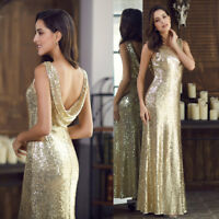 Ever-Pretty US Long Gold Sequin Evening Party Dresses Celebrity Homecoming Dress