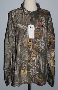 NWT Under Armour Womens Button Down Field Camo Shirt REALTREE Ladies XL