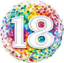 "18th BIRTHDAY PARTY SUPPLIES BALLOON 18"" BIRTHDAY RAINBOW CONFETTI FOIL BALLOON"