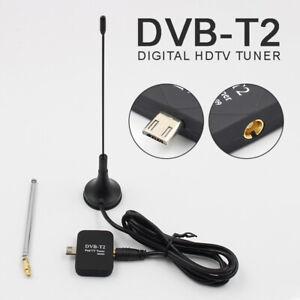 Für Android Handy Tablet DVB-T2 Empfänger TV Stick Antenne Micro USB OTG Tuner .