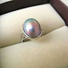Amazing 10x14mm nature Japanese Mabe gray pearl ring silver