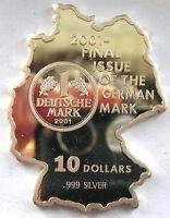 Nauru 2001 Last Mark German Map 10 Dollars Silver Coin,Proof