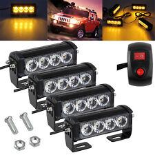 4 LED Amber Recovery Strobe Flash Bar Light Car Truck Grill Emergency Warning UK