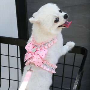 Girl Dog Harness Leash With Bling Rhinestone Puppy Chest Strap Vest Small Kitten