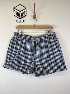 GANT, Mens Size M, Blue Check, Small Logo, Short Swim Shorts,*VGC*