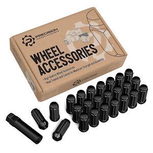 24pc Black Spline 14x1.5 Locking Lug Nuts - for Hummer GMC Chevy Trucks - 6x5.5