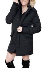 Giubbotto Parka donna invernale nero trench giacca piumino con pelliccia