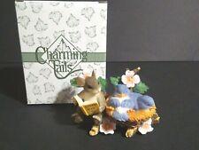 Fitz And Floyd Charming Tails Tweet Dreams Blue 00006000  Birds Mice Dog wood Tree