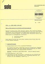 Solo 630 Störungssuche Motor, orig. Kundendienst- Schreiben 1966