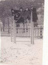 1950s Cute little boys have fun in winter fashion old Russian Soviet photo