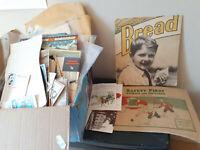 Box Lot of 6.7 lbs of Paper Ephemera Postcards, Advertising, etc..
