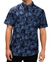 Hurley Mens Shirt Blue Size Small S Spray Palms Print Miles Button Down $50 #144