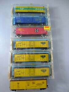 N scale Atlas 50' Boxcars & Reefers 7 Cars