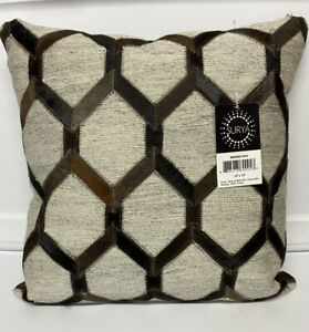 Surya Medora Dark Brown Leather Trim & Down Fill Throw Pillow 18x18