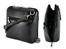 Genuine Shiny Leather Sassy Duck Black Cross Body Madrid Bag *Silver Hardware*