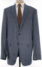 Ermenegildo Zegna Sport Coat Size 48XL Blues & Brown Plaid Cashmere/Silk W/ Pads