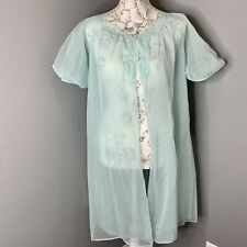 Vintage Kayser Lingerie Duster Sheer Nightgown Lace Mint Green Women's Sz Small