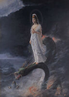 """high quality oil painting handpainted on canvas """"Guanyin and the Dragon""""@N3357"""