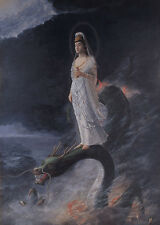 "perfact 24x36 oil painting handpainted on canvas ""Guanyin and the Dragon""@N3357"