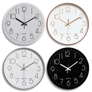 """Modern Wall Clock Silent Non-ticking Battery Operated 12"""" Round Clock Home Decor"""
