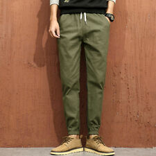 Outlet Casual Style Elastic Tapered Trousers for Men - Army Green