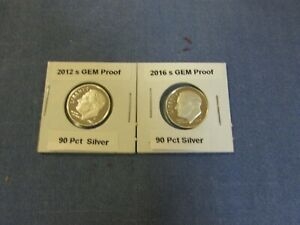 2012 S & 2016 S Silver GEM Proofs Roosevelt Dimes (2 Coins)