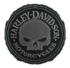 Harley-Davidson Genuine Gray Willie G Skull Frayed Emblem Patch, 3.5 inch