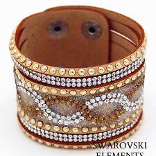 Bracelet large manchette Swarovski® Elements argenté cuir souple qualité CAMEL