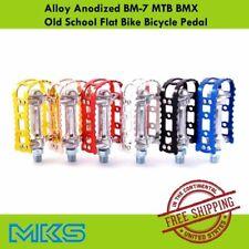 "MKS BM-7 Pedal Alloy Anodized MTB BMX Old School Flat Bike 9/16"" Pedals Cycling"