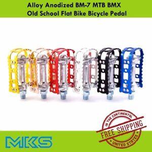 "MKS BM-7 Alloy Anodized 9/16"" Pedal MTB BMX Old School Flat Bike Pedals"